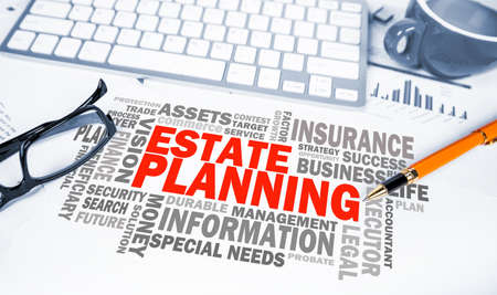 estate planning word cloud on office scene Stockfoto