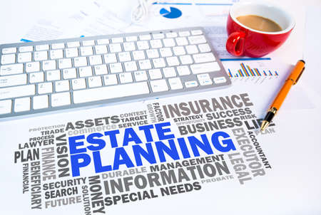estate planning: estate planning word cloud on office scene Stock Photo