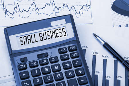 business strategy: word small business displayed on calculator Stock Photo