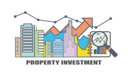 Flat Line Illustration Design For Property Investment, Real Estate Market  Analysis Illustration