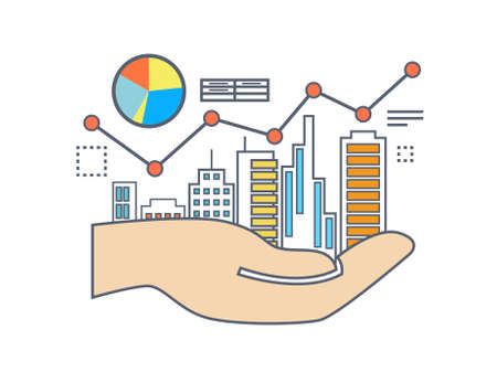 commercial property: Flat line illustration design for commercial property value analysis, property investment, real estate management