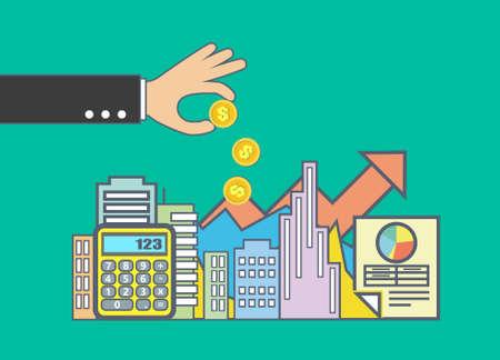 Flat line illustration design for property investment, real estate management