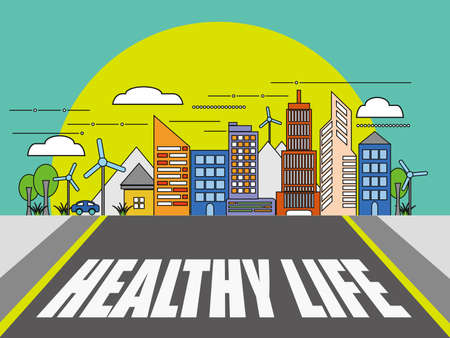 road to healthy life Illustration