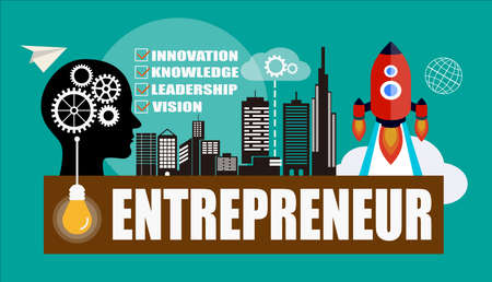 owner money: Entrepreneur concept background with head silhouette
