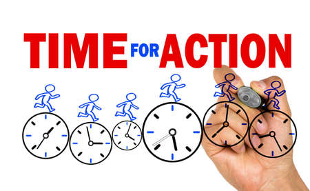 time for action concept on whiteboard Standard-Bild