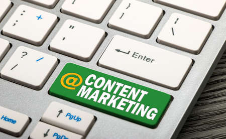 content marketing concept on keyboard