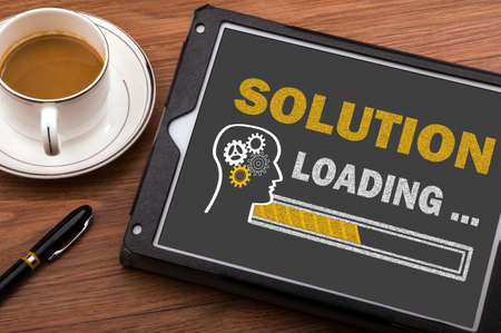 solution loading concept on touch screen Standard-Bild
