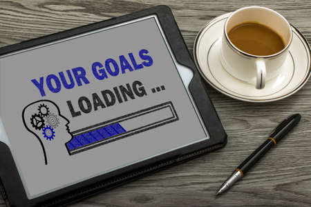 your goals loading concept on touch screen Standard-Bild