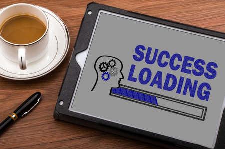 success loading concept on touch screen Standard-Bild