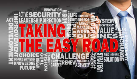 taking the easy road concept with related word cloud