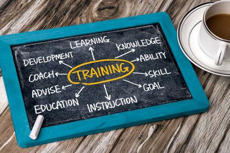 training concept flowchart hand drawing on blackboard Standard-Bild