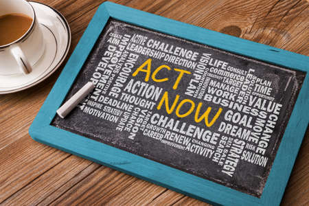 act now concept with related word cloud