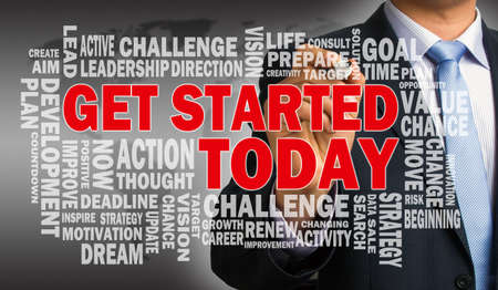 get started today concept with related word cloud