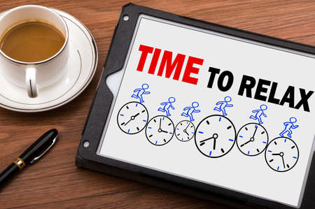 time to relax concept on tablet pc Standard-Bild