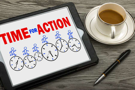 time for action concept on tablet pc
