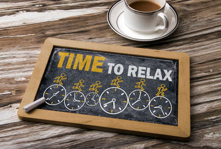 time to relax concept on blackboard
