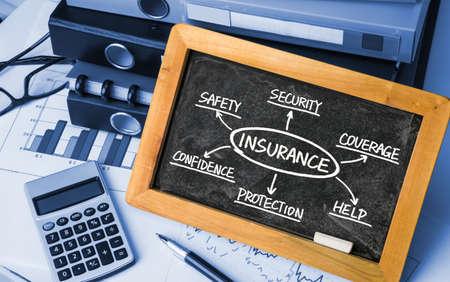 insurance concept flowchart hand drawing on blackboard