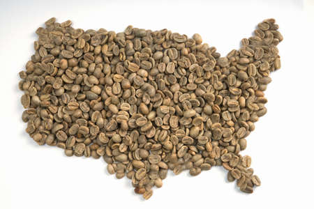 Green coffee beans map- continental US. For use for prompting coffee Stock Photo