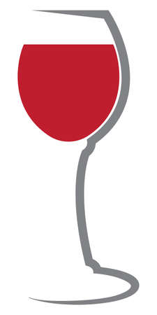 Glass of red wine vector logo icon