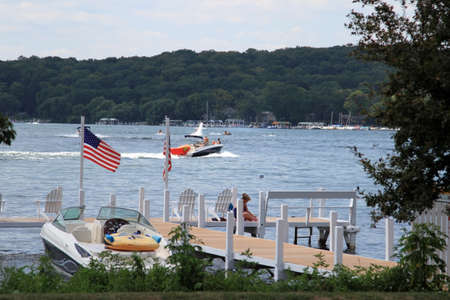 View lake Geneva in the summer, Wisconsin