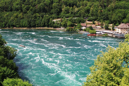 Switzerland. Rheinfall is the biggest waterfall in Europe. Nature baground. Banque d'images - 103787084