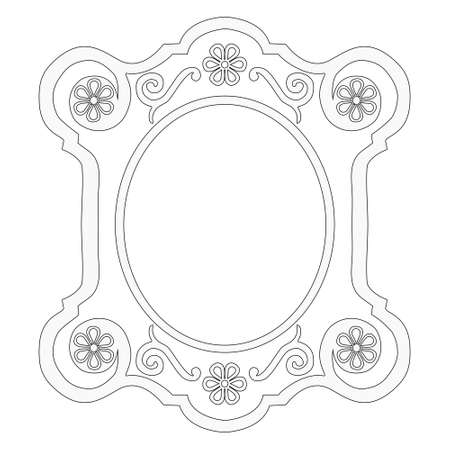 White decorative frame on a white background, black contours. Floral motif, flourishes. Vector illustration.