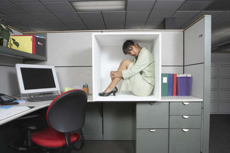 Businesswoman sitting in office cubicle LANG_EVOIMAGES