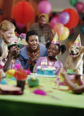 Family celebrating a birthday party