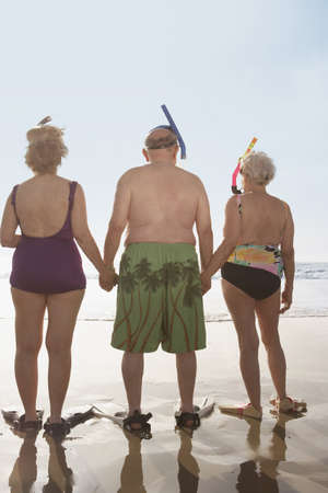 Group of seniors wearing snorkeling gear on the beach, Las Vegas, Nevada, United States