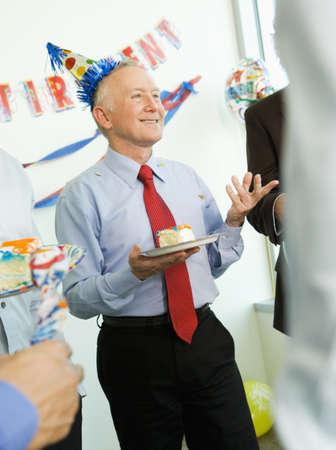 Senior businessman at his retirement party, Redwood City, California, United States