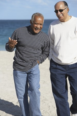 Two senior men talking on beach LANG_EVOIMAGES