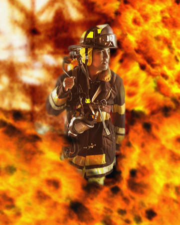 Male fire fighter walking through flames