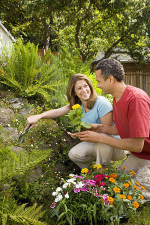 Couple planting flowers in garden LANG_EVOIMAGES