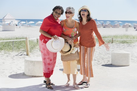 Group of middle-aged women at the beach, Miami, Florida, United States