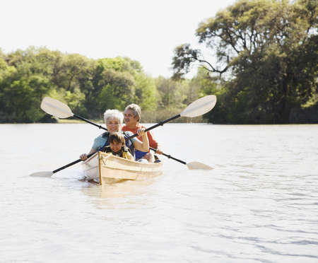 Family rowing in canoe LANG_EVOIMAGES