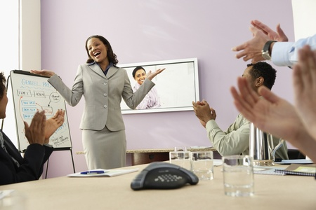 Multi-ethnic businesspeople having video conference LANG_EVOIMAGES