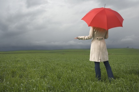 Rear view of woman holding umbrella in field LANG_EVOIMAGES