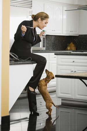 Hispanic businesswoman talking to dog