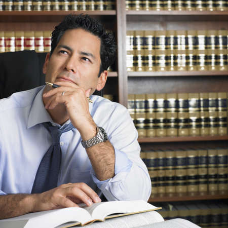Mixed Race male lawyer thinking