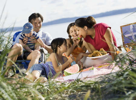 Multi-ethnic family having picnic LANG_EVOIMAGES