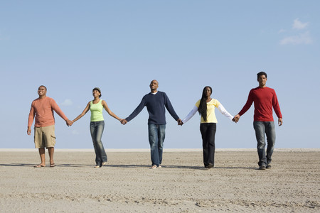 Multi-ethnic friends holding hands LANG_EVOIMAGES