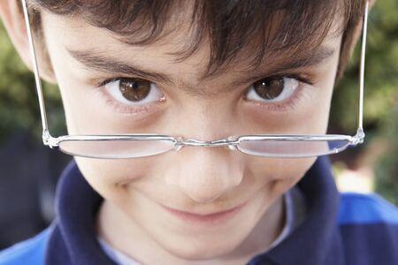 Hispanic boy wearing eyeglasses