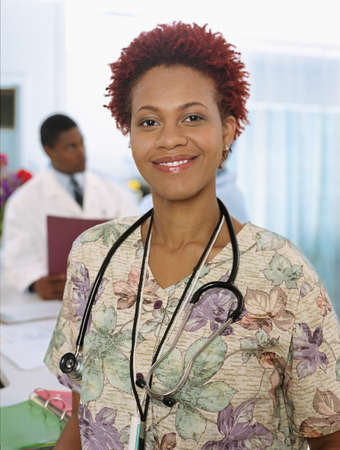 African female nurse with stethoscope
