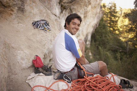 Argentinean rock climber and equipment