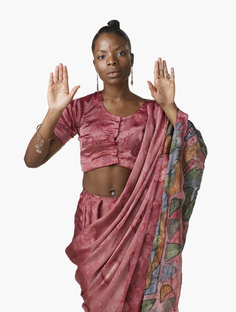 African woman in Indian traditional clothing