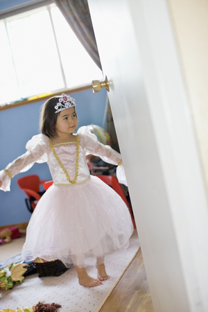 Asian girl dressing up in princess costume