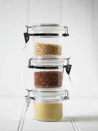 Stack of mason jars with grains LANG_EVOIMAGES