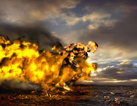 Digital composite of Asian man running on lava LANG_EVOIMAGES