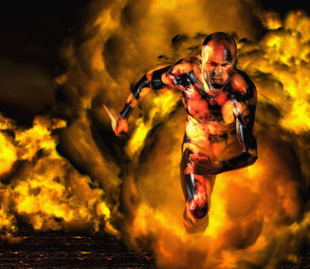 Digital composite of Asian man running in fire