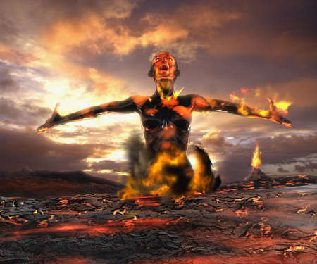 Digital composite of Asian woman emerging from lava LANG_EVOIMAGES